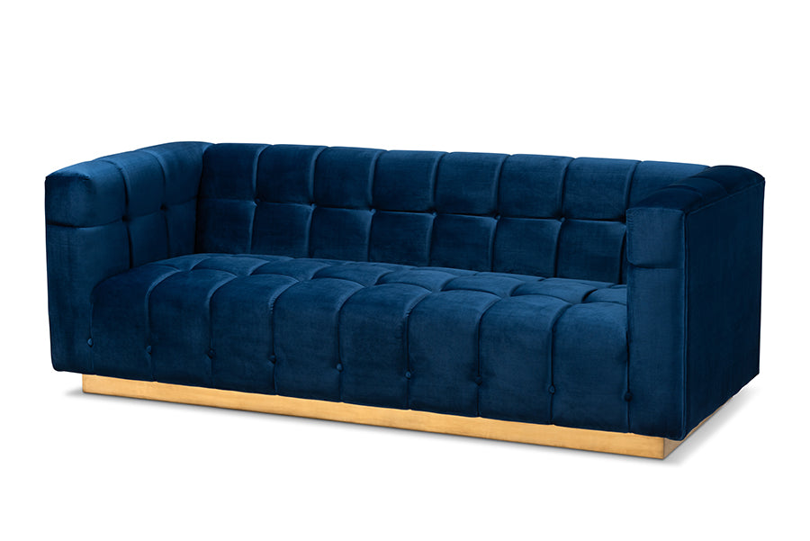 Wholesale interiors Loreto Glam and Luxe Navy Blue Velvet Fabric Upholstered Brushed Gold Finished Sofa TSF-5506-Navy/Gold-SF