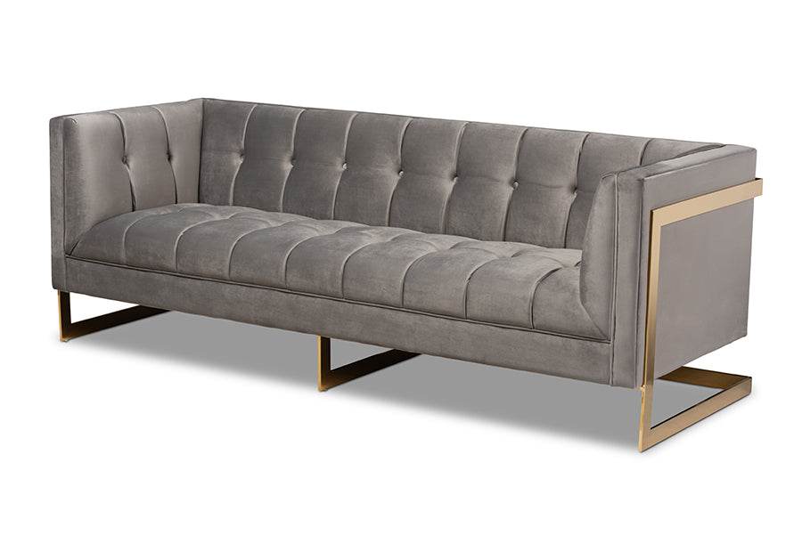 Wholesale interiors Ambra Glam and Luxe Grey Velvet Fabric Upholstered and Button Tufted Sofa with Gold-Tone Frame TSF-5507-Grey/Gold-SF