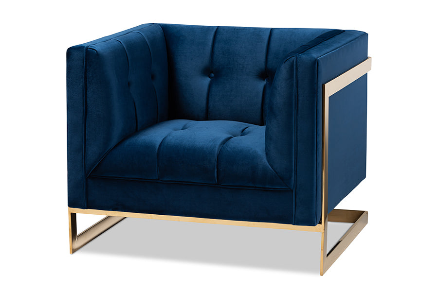 Wholesale interiors Ambra Glam and Luxe Royal Blue Velvet Fabric Upholstered and Button Tufted Armchair with Gold-Tone Frame TSF-5507-Navy/Gold-CC