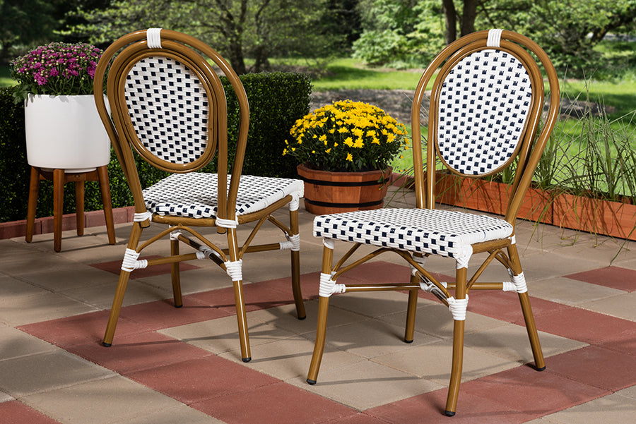 Wholesale interiors Gauthier Classic French Indoor and Outdoor Navy and White Bamboo Style Bistro Stackable Dining Chair Set of 2 WA-4094-Navy/White-DC