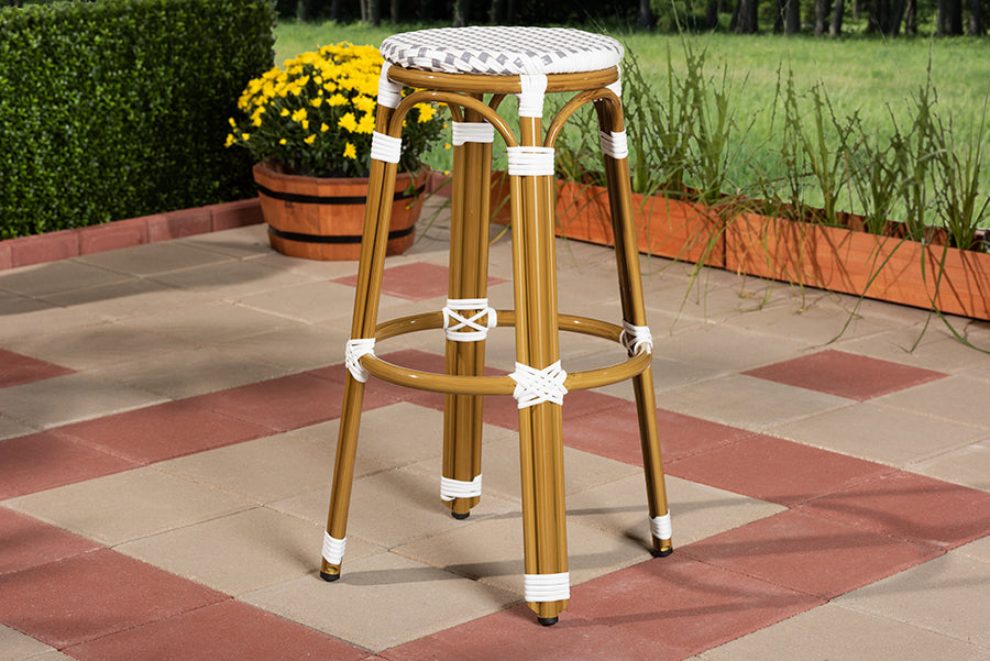 Wholesale interiors Joelle Classic French Indoor and Outdoor Grey and White Bamboo Style Stackable Bistro Bar Stool  WA-4123-Grey/White-BS