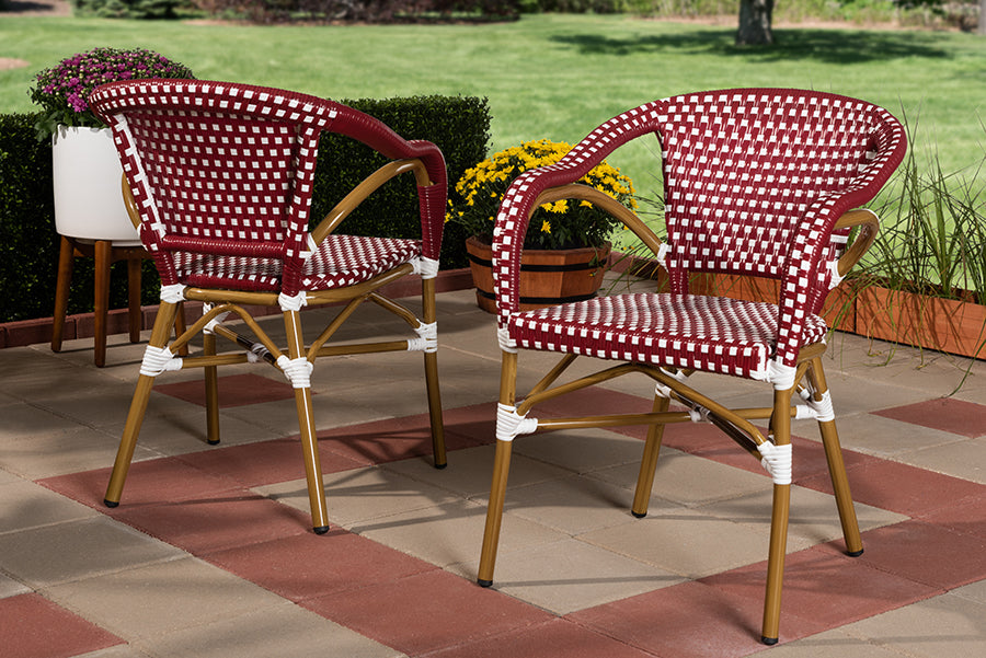 Wholesale interiors Eliane Classic French Indoor and Outdoor Red and White Bamboo Style Stackable Bistro Dining Chair Set of 2 WA-4267-Red/White-DC