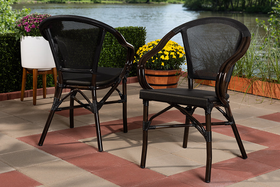 Wholesale interiors Artus Classic French Indoor and Outdoor Black Bamboo Style Stackable Bistro Dining Chair Set of 2 WA-5101-Black-DC