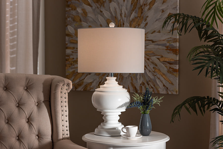 Wholesale interiors Safira Modern and Contemporary White Sculpted Table Lamp TPW0004