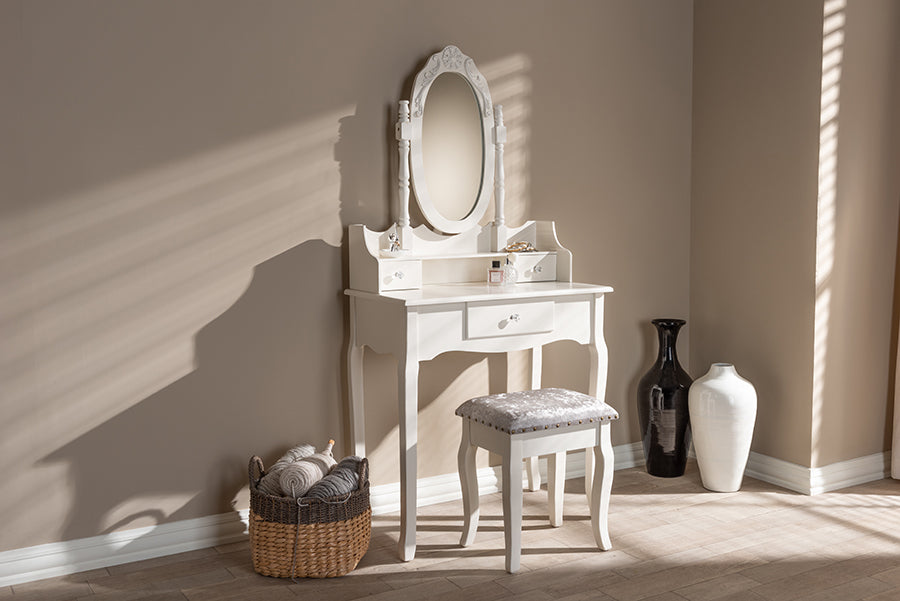 Wholesale interiors Veronique Traditional French Provincial White Finished Wood 2-Piece Vanity Table with Mirror and Ottoman WF18-White-Vanity