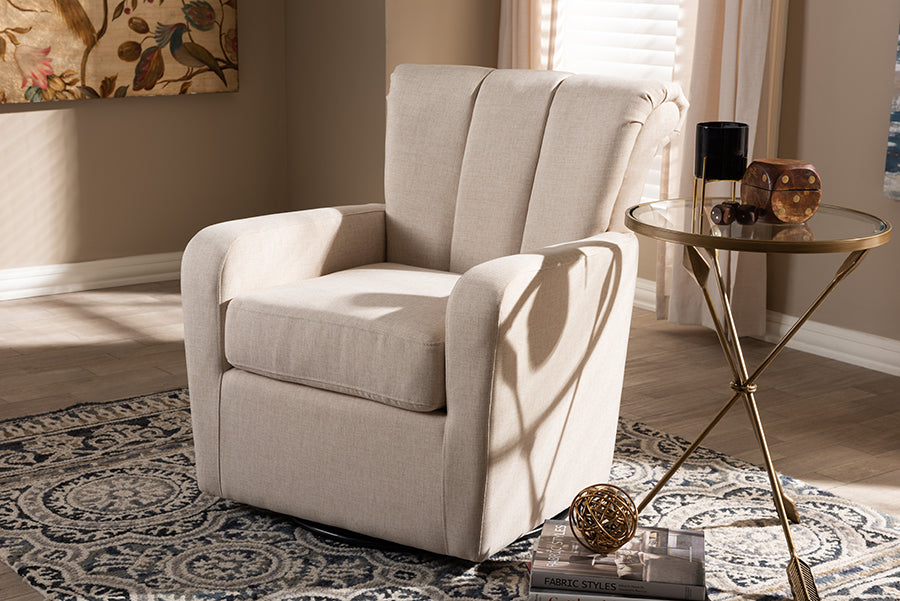 Wholesale interiors Rayner Modern and Contemporary Beige Fabric Upholstered Swivel Chair TSF7715-Beige-CC