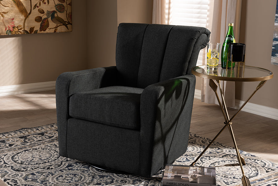 Wholesale interiors Rayner Modern and Contemporary Grey Fabric Upholstered Swivel Chair TSF7715-Grey-CC