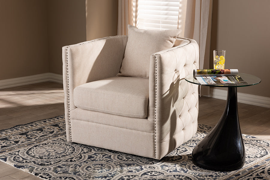Wholesale interiors Micah Modern and Contemporary Beige Fabric Upholstered Tufted Swivel Chair TSF7718-Beige-CC