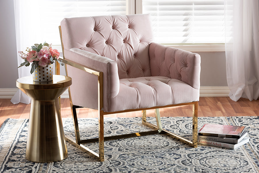 Wholesale interiors Milano Modern and Contemporary Pink Velvet Fabric Upholstered Gold Finished Lounge Chair TSF7719-Pink/Gold-CC