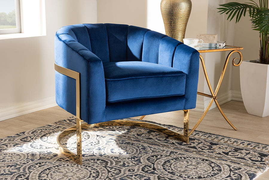 Wholesale interiors Tomasso Glam Royal Blue Velvet Fabric Upholstered Gold-Finished Lounge Chair TSF7707-Dark Royal Blue/Gold-CC