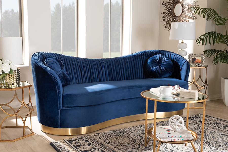 Wholesale interiors Nevena Glam Royal Blue Velvet Fabric Upholstered Gold-Finished Sofa TSF5510-Dark Royal Blue/Gold-SF