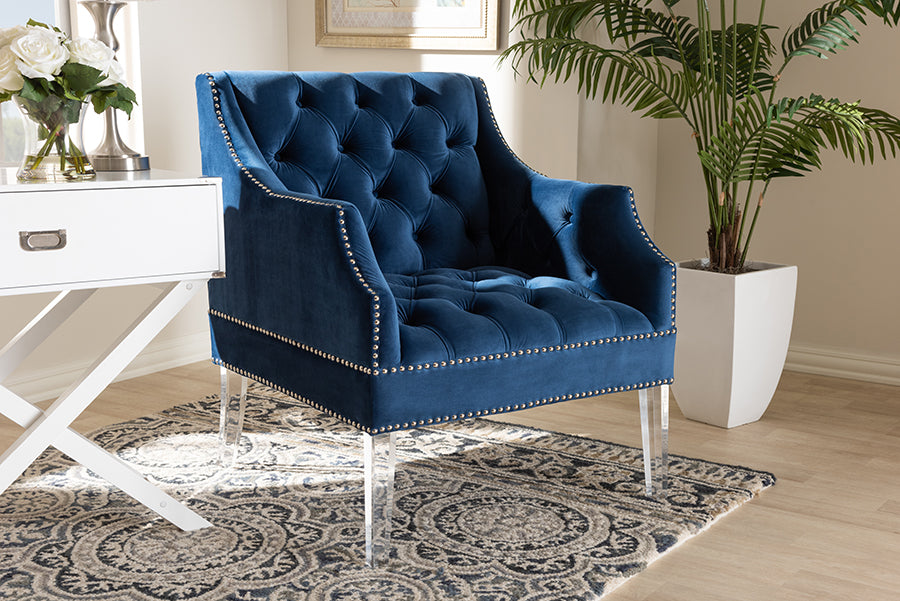 Wholesale interiors Silvana Modern and Contemporary Navy Velvet Fabric Upholstered Lounge Chair with Acrylic Legs TSF1239-Navy Blue/Acrylic-CC