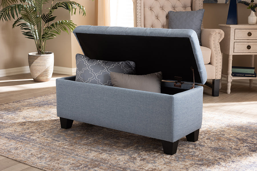 Wholesale interiors Fera Modern and Contemporary Light Blue Fabric Upholstered Storage Ottoman WS-2005-P-Light Blue-OTTO