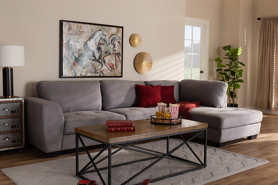 Wholesale interiors Petra Modern and Contemporary Gray Fabric Upholstered Right Facing Sectional Sofa U9380K-Grey-RFC-SF