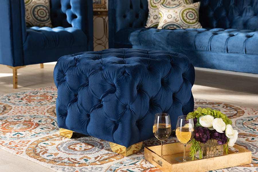 Wholesale interiors Avara Glam and Luxe Royal Blue Velvet Fabric Upholstered Gold Finished Button Tufted Ottoman TSFOT029-Dark Royal Blue/Gold-Otto