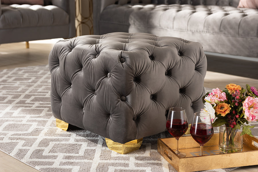 Wholesale interiors Avara Glam and Luxe Gray Velvet Fabric Upholstered Gold Finished Button Tufted Ottoman TSFOT029-Slate Grey/Gold-Otto