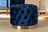 Wholesale interiors Valeria Glam Royal Blue Velvet Fabric Upholstered Gold-Finished Button Tufted Ottoman TSFOT030-Dark Royal Blue/Gold-Otto
