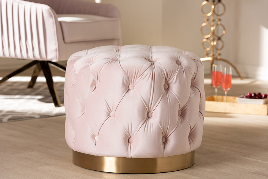 Wholesale interiors Valeria Glam Light Pink Velvet Fabric Upholstered Gold-Finished Button Tufted Ottoman TSFOT030-Light Pink/Gold-Otto