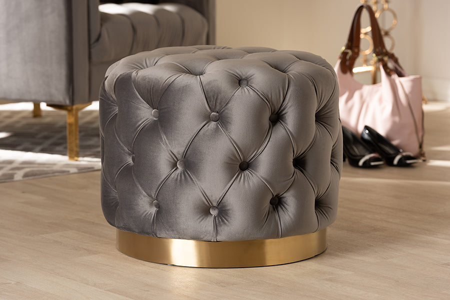 Wholesale interiors Valeria Glam Gray Velvet Fabric Upholstered Gold-Finished Button Tufted Ottoman TSFOT030-Slate Grey/Gold-Otto