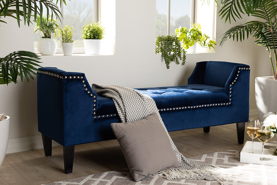 Wholesale interiors Perret Modern and Contemporary Royal Blue Velvet Fabric Upholstered Espresso Finished Wood Bench TSF7739-Dark Royal Blue/Black-Bench