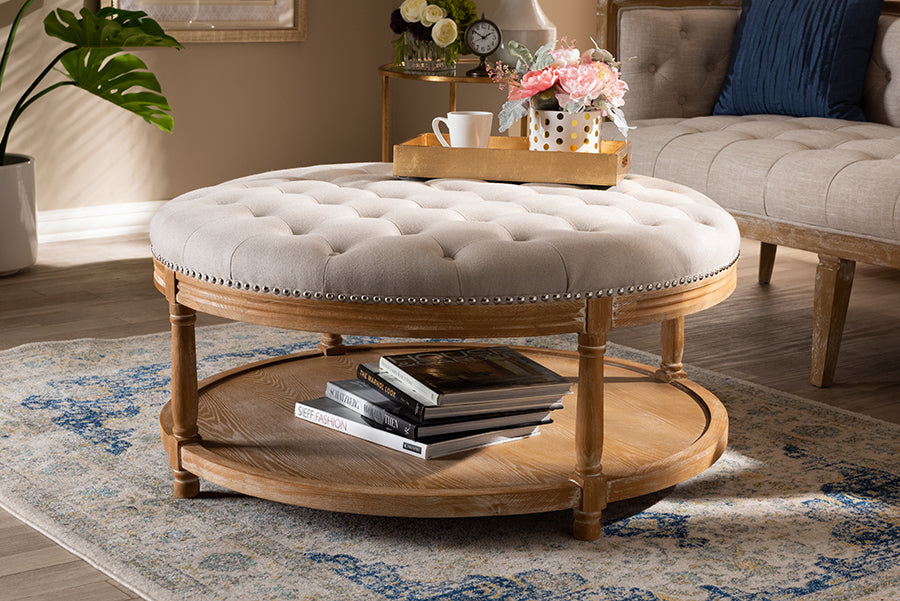 Wholesale interiors Ambroise French Provincial Beige Linen Fabric Upholstered and White-Washed Oak Wood Button-Tufted Cocktail Ottoman with Shelf TSF7731-Beige/Natural Oak-Otto