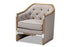 Wholesale interiors Terina French Country Industrial Grey-Beige Fabric Upholstered Whitewashed Oak Wood Armchair with Metal Accents TSF7763-Beige-CC