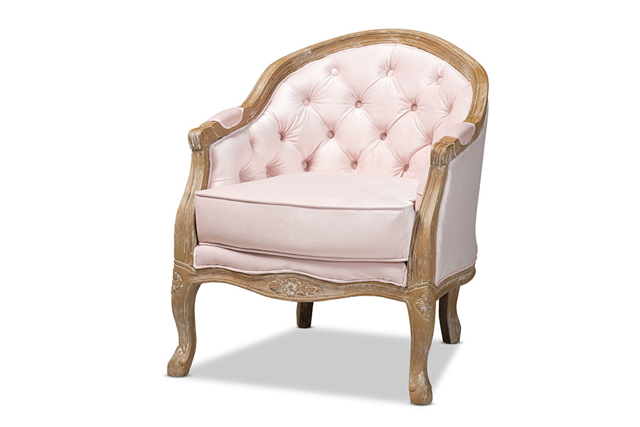 Wholesale interiors Genevieve Traditional French Provincial Light Pink Velvet Upholstered White-Washed Oak Wood Armchair TSF7766-Light Pink-CC