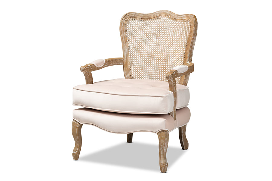 Wholesale interiors Vallea Traditional French Provincial Light Beige Velvet Fabric Upholstered White-Washed Oak Wood Armchair TSF7764-Light Beige-CC