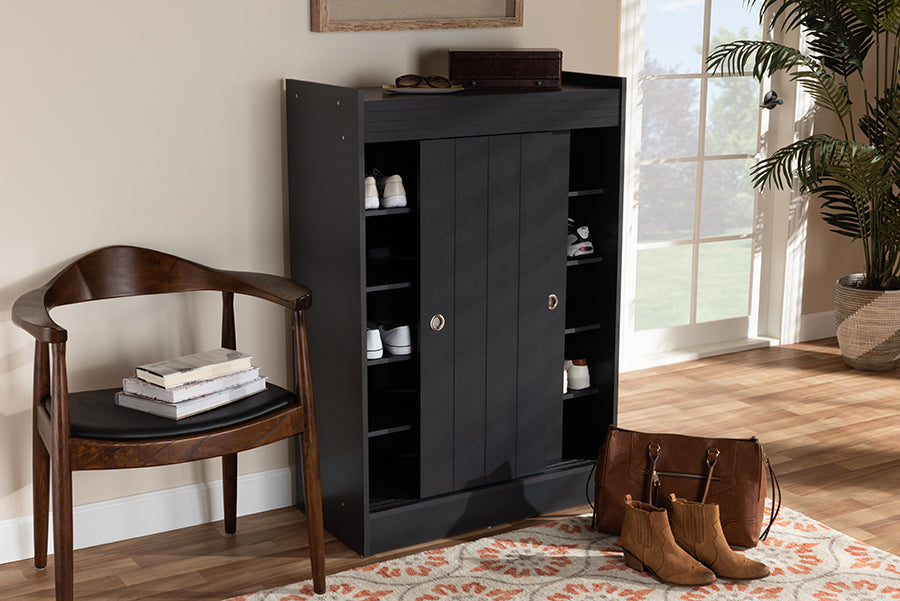 Wholesale interiors Leone Modern and Contemporary Charcoal Finished 2-Door Wood Entryway Shoe Storage Cabinet WI5377-Dark Grey