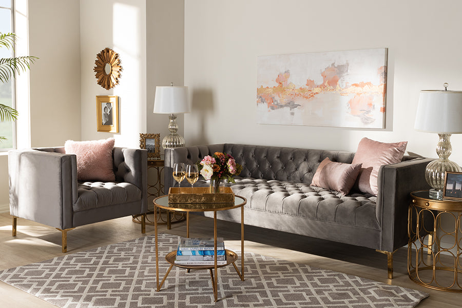 Wholesale interiors Zanetta Glam and Luxe Gray Velvet Upholstered Gold Finished 2-Piece Sofa and Lounge Chair Set TSF-7723-Grey/Gold-2PC Set