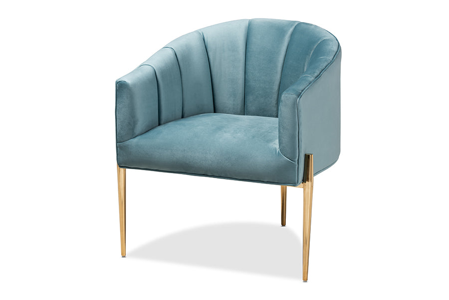 Wholesale interiors Clarisse Glam and Luxe Light Blue Velvet Fabric Upholstered Gold Finished Accent Chair TSF-DC6623-Light Blue/Gold-CC