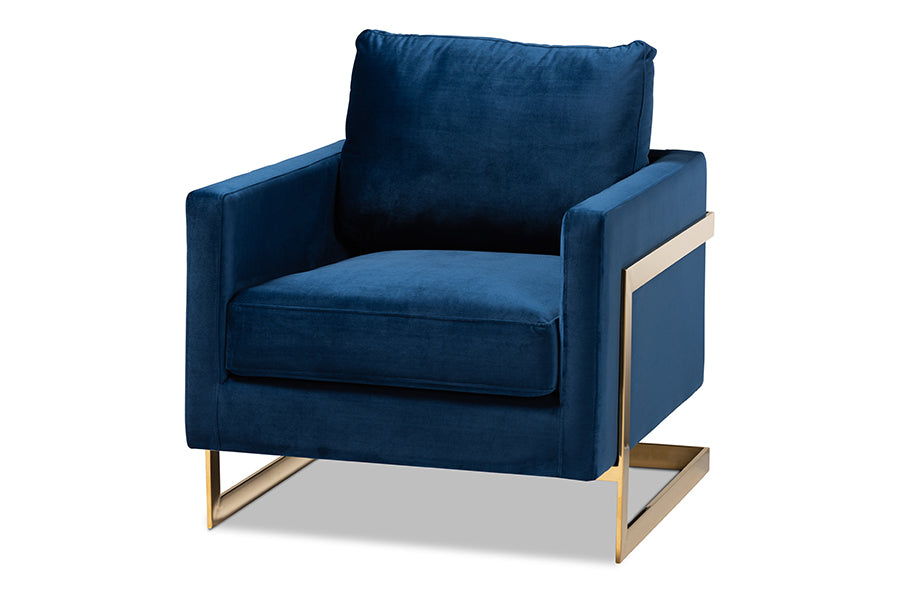 Wholesale interiors Matteo Glam and Luxe Royal Blue Velvet Fabric Upholstered Gold Finished Armchair TSF-77241-Navy/Gold-CC