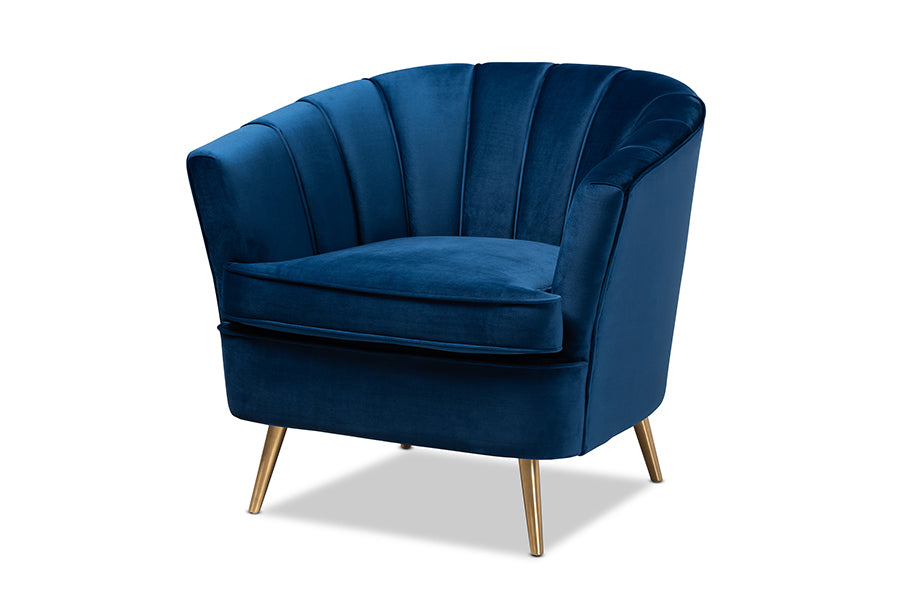 Wholesale interiors Emeline Glam and Luxe Navy Blue Velvet Fabric Upholstered Brushed Gold Finished Accent Chair TSF-66161-Navy/Gold-CC