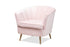 Wholesale interiors Emeline Glam and Luxe Light Pink Velvet Fabric Upholstered Brushed Gold Finished Accent Chair TSF-66161-Light Pink/Gold-CC