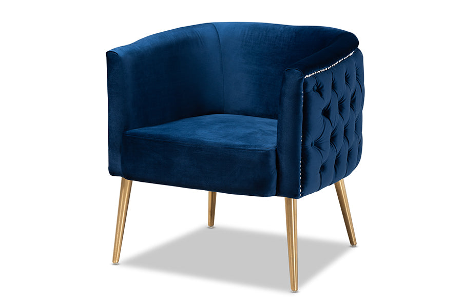 Wholesale interiors Marcelle Glam and Luxe Navy Blue Velvet Fabric Upholstered Brushed Gold Finished Accent Chair TSF-6622-Navy/Gold-CC