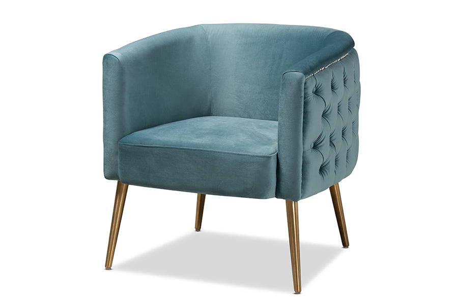 Wholesale interiors Marcelle Glam and Luxe Light Blue Velvet Fabric Upholstered Brushed Gold Finished Accent Chair TSF-6622-Light Blue/Gold-CC