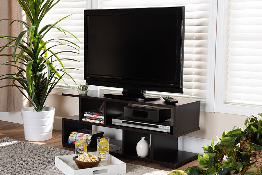 Wholesale interiors Arne Modern and Contemporary Dark Brown Finished Wood TV Stand TV8001-Wenge-TV