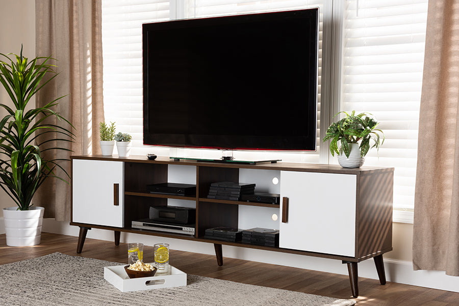 Wholesale interiors Quinn Mid-Century Modern Two-Tone White and Walnut Finished 2-Door Wood TV Stand TV8003-Columbia Walnut/White-TV