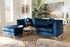 Wholesale interiors Giselle Glam and Luxe Navy Blue Velvet Fabric Upholstered Mirrored Gold Finished Left Facing Sectional Sofa with Chaise TSF-6636-Navy Blue/Gold-LFC