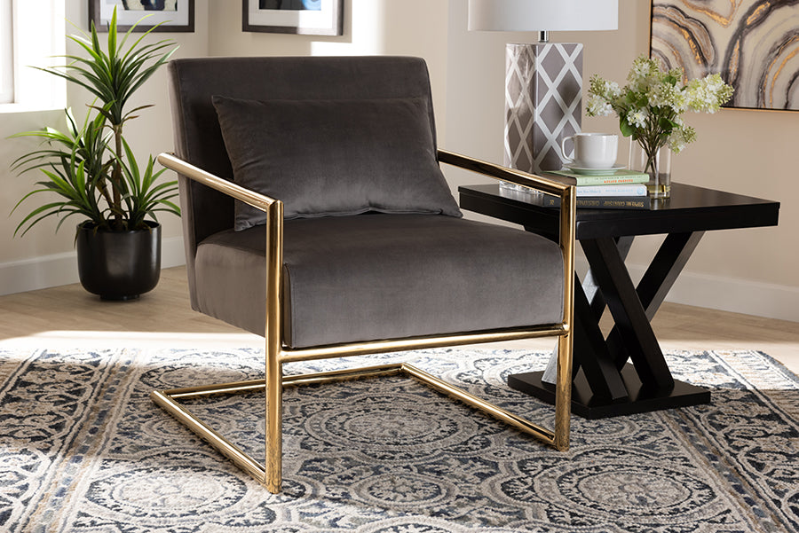 Wholesale interiors Mira Glam and Luxe Grey Velvet Fabric Upholstered Gold Finished Metal Lounge Chair TSF-60458-Grey Velvet/Gold-CC