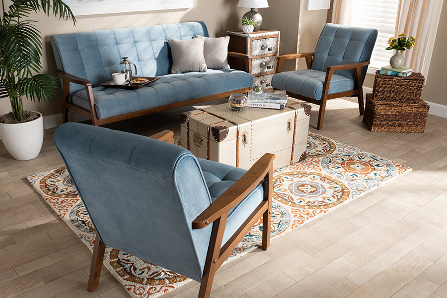 Wholesale interiors Asta Mid-Century Modern Light Blue Velvet Fabric Upholstered Walnut Finished Wood 3-Piece Living Room Set TOGO-Light Blue Velvet/Walnut-3PC SF Set