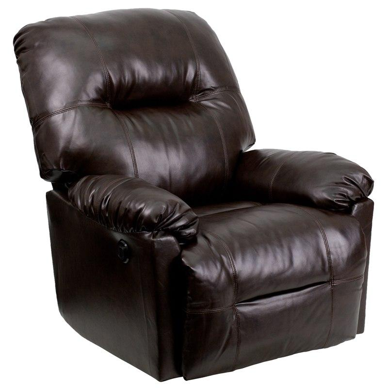 Flash Furniture AM-CP9350-9075-GG Contemporary Bentley Brown Leather Chaise Power Recliner with Push Button