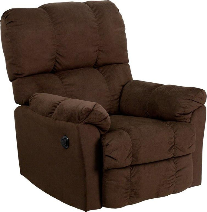 Flash Furniture AM-P9320-4171-GG Contemporary Top Hat Chocolate Microfiber Power Recliner with Push Button