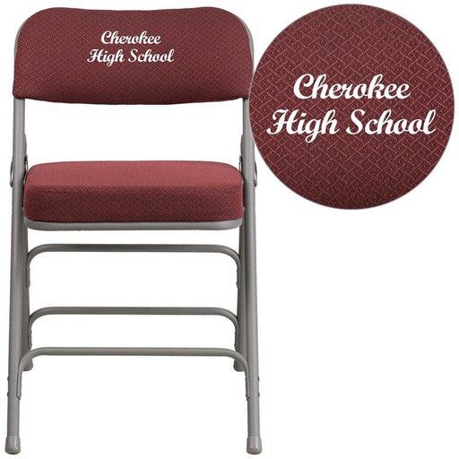 Flash Furniture AW-MC320AF-BG-EMB-GG Embroidered HERCULES Series Premium Curved Triple Braced & Double-Hinged Burgundy Fabric Metal Folding Chair