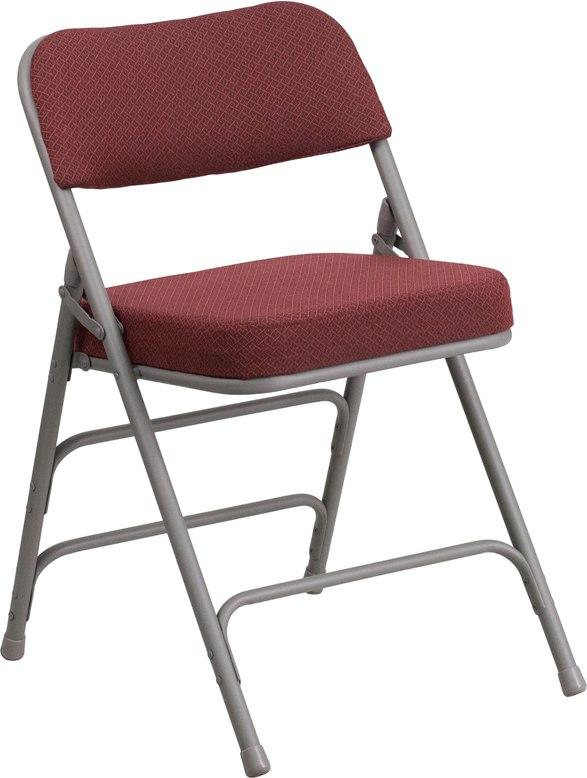 Flash Furniture AW-MC320AF-BG-GG HERCULES Series Premium Curved Triple Braced & Double-Hinged Burgundy Fabric Metal Folding Chair