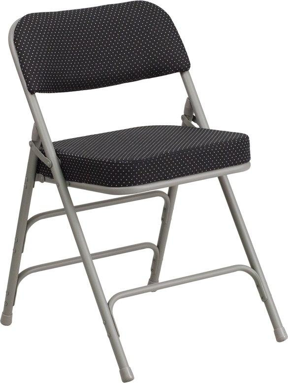 Flash Furniture AW-MC320AF-BK-GG HERCULES Series Premium Curved Triple Braced & Double-Hinged Black Pin-Dot Fabric Metal Folding Chair