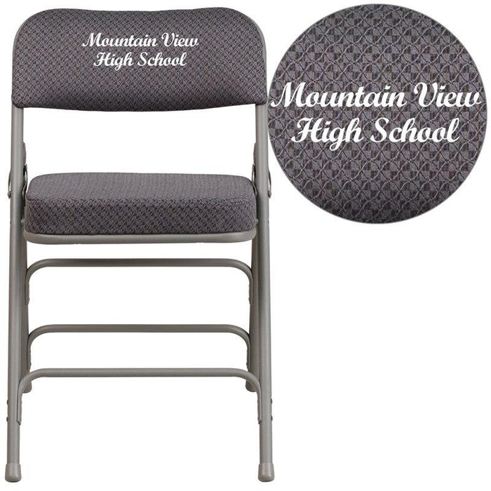 Flash Furniture AW-MC320AF-GRY-EMB-GG Embroidered HERCULES Series Premium Curved Triple Braced & Double-Hinged Gray Fabric Metal Folding Chair