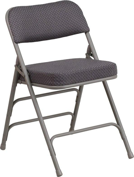 Flash Furniture AW-MC320AF-GRY-GG HERCULES Series Premium Curved Triple Braced & Double-Hinged Gray Fabric Metal Folding Chair