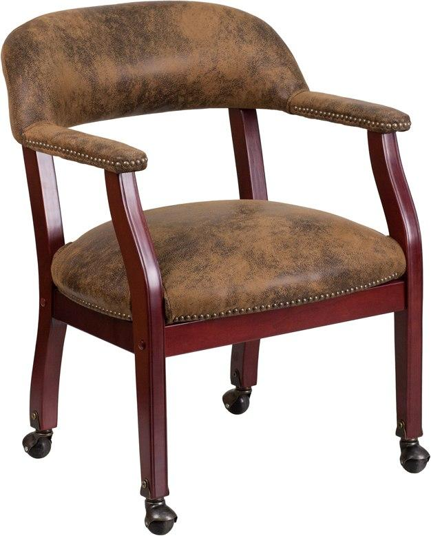 Flash Furniture B-Z100-BRN-GG Bomber Jacket Brown Luxurious Conference Chair with Accent Nail Trim and Casters