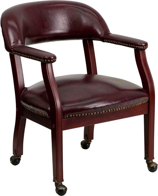 Flash Furniture B-Z100-OXBLOOD-GG Oxblood Vinyl Luxurious Conference Chair with Accent Nail Trim and Casters